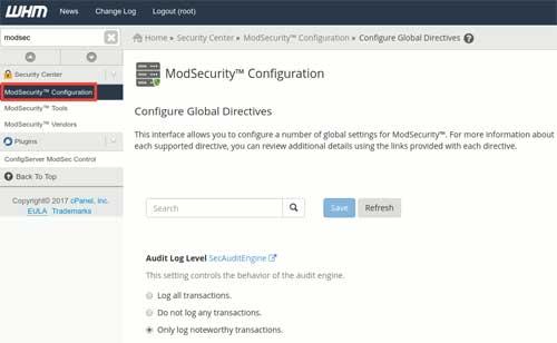 Cara Install ModSecurity di cPanel